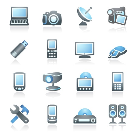 pocket pc: Electronics icons for web   Gray and blue series  Illustration