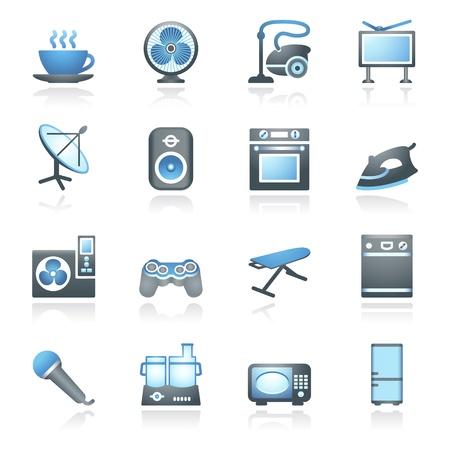 microwave antenna: Electrodom�sticos, establece dos series gris y azul Vectores