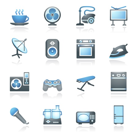 Home appliances, set 2  Gray and blue series  Vector