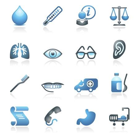 balanza de laboratorio: Iconos de Medicina web grises y azules de la serie Vectores