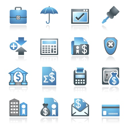 credit report: Banking web icons  Gray and blue series  Illustration