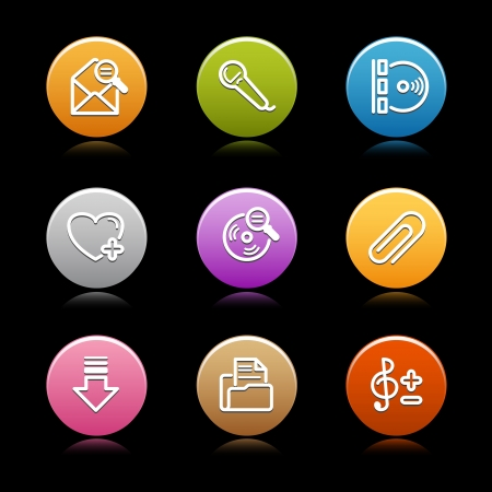 Color circle web icons, set 27 Stock Vector - 14129085