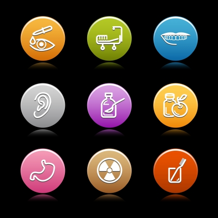 pharm: Color circle web icons, set 23 Illustration