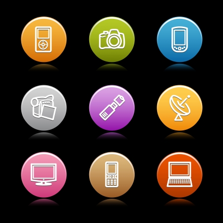 Color circle web icons, set 22 Vector