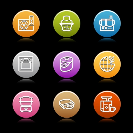Color circle web icons, set 21 Vector