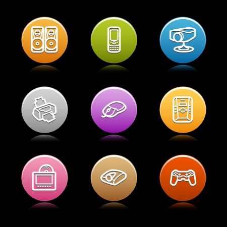 Color circle web icons, set 16 Stock Vector - 14129103