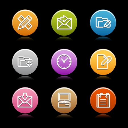 edit icon: Color circle web icons, set 10 Illustration