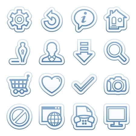 Blue web stickers with icons 1 Vector