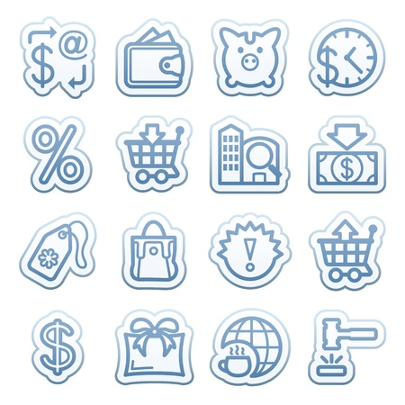 money order: Blue web stickers with icons 2 Illustration
