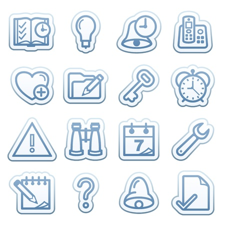 configure: Blue web stickers with icons 3 Illustration