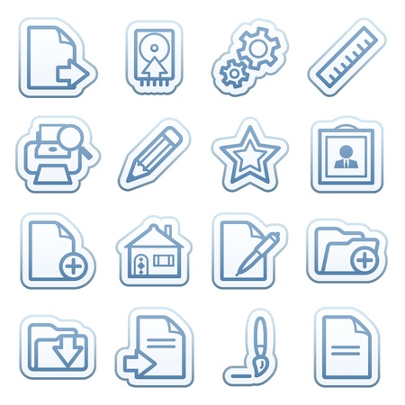 Blue web stickers with icons 4 Vector