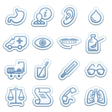Blue web stickers with icons 6 Vector