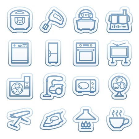 Blue web stickers with icons 8 Vector