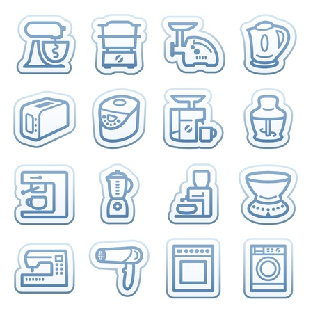Blue web stickers with icons 9 Vector