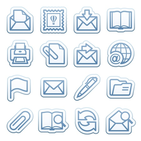 printer icon: Blue web stickers with icons 10 Illustration