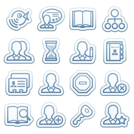 Blue web stickers with icons 11 Stock Vector - 14345163