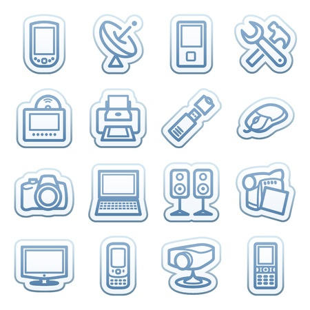 Blue web stickers with icons 13 Vector