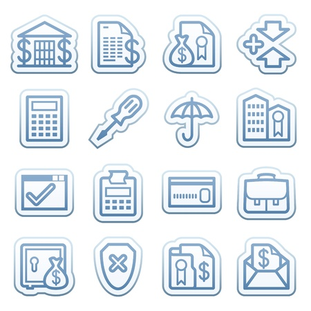 Blue web stickers with icons 14 Vector