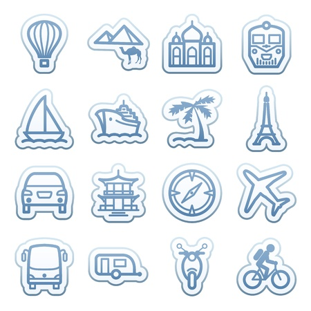 Blue web stickers with icons 15 Stock Vector - 14345164