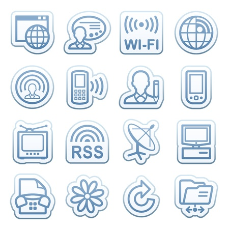 Blue web stickers with icons 17 Vector