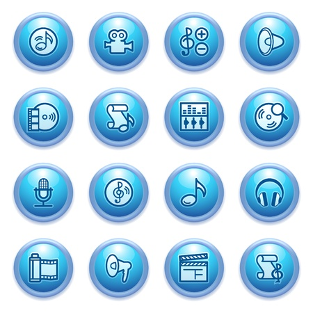 audio video: icons set for websites, guides, booklets  Illustration