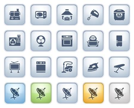 blue white kitchen: Home appliances icons on buttons, set 1  Color series  Illustration