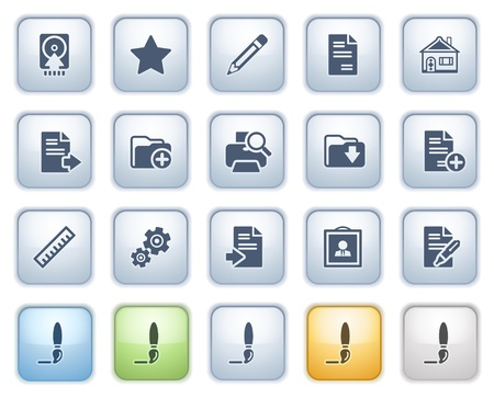 Document icons on buttons, set 2  Color series Stock Vector - 15032304