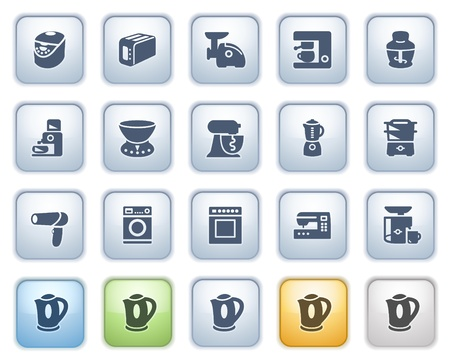 Home appliances on buttons, set 2  Color series  Vector