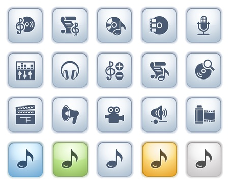 Audio video icons on buttons  Color series  Vector
