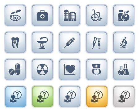 Medicine  icons on buttons, set 2  Color series  Vector