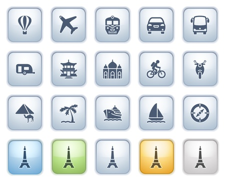 Travel icons on buttons  Color series Stock Vector - 15032405