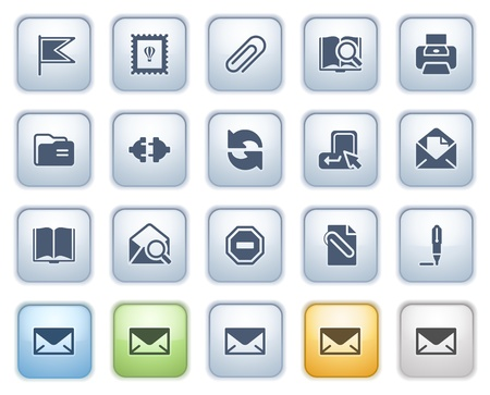 attach: E-mail web iconos en color de serie botones Vectores