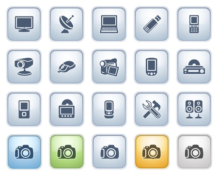 Electronics web icons on buttons  Color series Stock Vector - 15032338