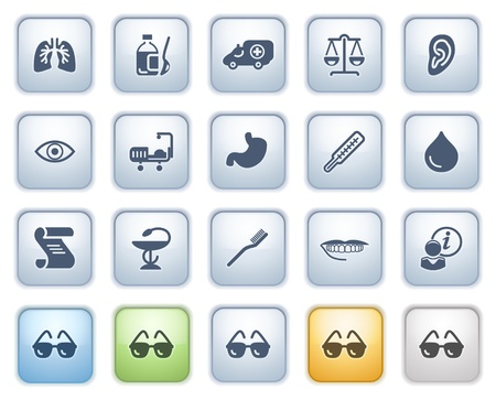 Medicine web icons on buttons  Color series  Vector