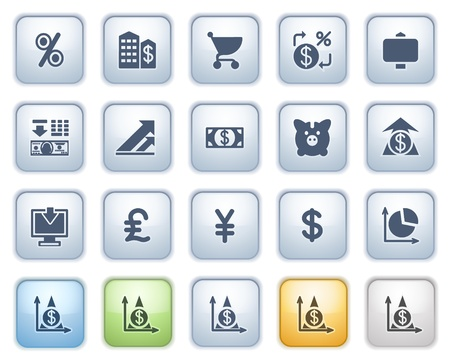 Finance web icons on buttons  Color series  Vector