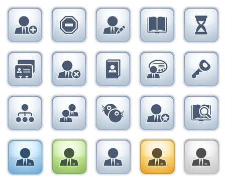 Users web icons on buttons  Color series Stock Vector - 15032302