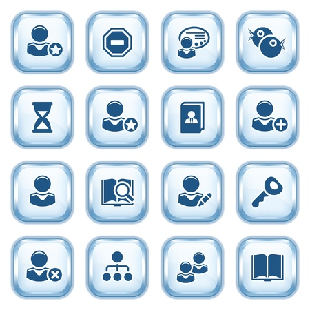 Users web icons on glossy buttons Stock Vector - 15173467