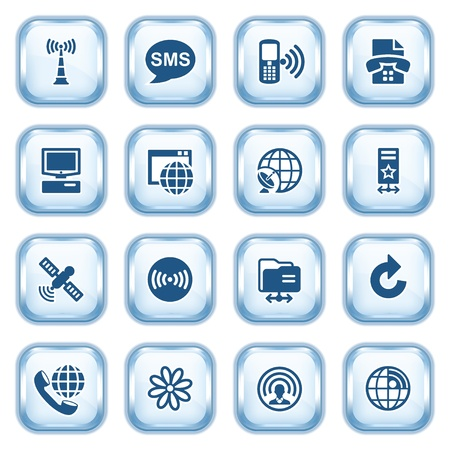 Communication web icons on glossy buttons Stock Vector - 15173474