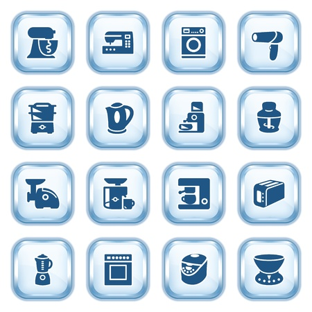 gas furnace: Home appliances web icons on glossy buttons