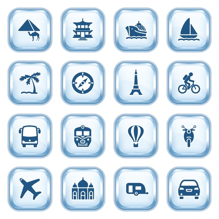 Travel web icons on glossy buttons  Vector