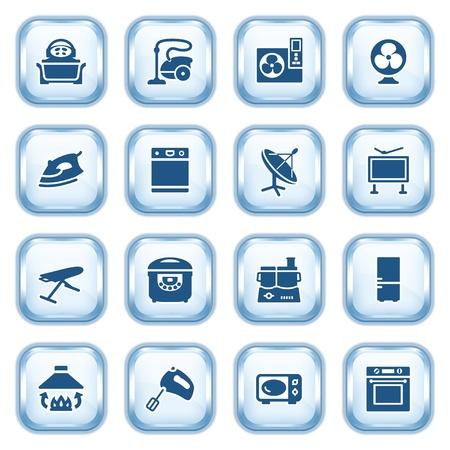 microwave antenna: Electrodom�sticos web iconos en los botones brillantes