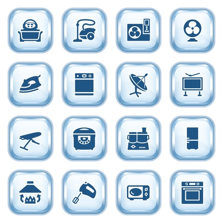 e commerce icon: Home appliances web icons on glossy buttons