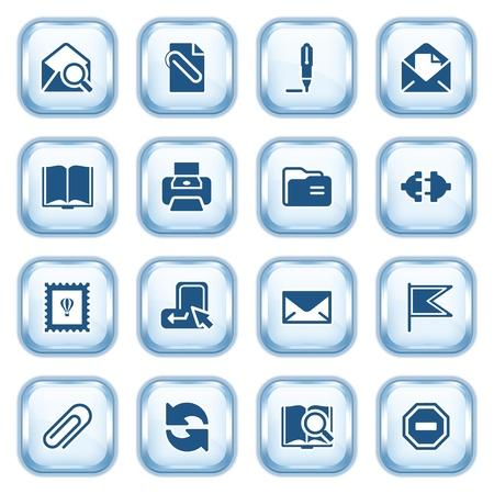 attach: E-mail web iconos en los botones brillantes