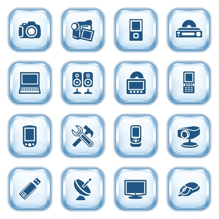 Electronics web icons on glossy buttons  Vector