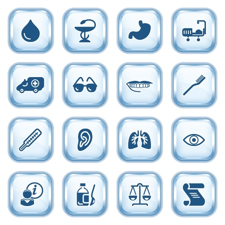 Medicine web icons  on glossy buttons  Vector