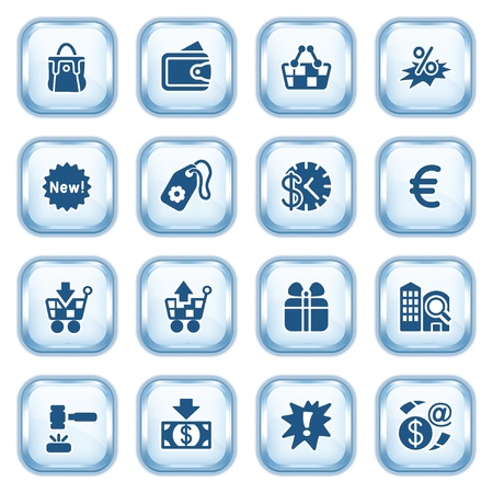 Commerce web icons on glossy buttons  Stock Vector - 15173473