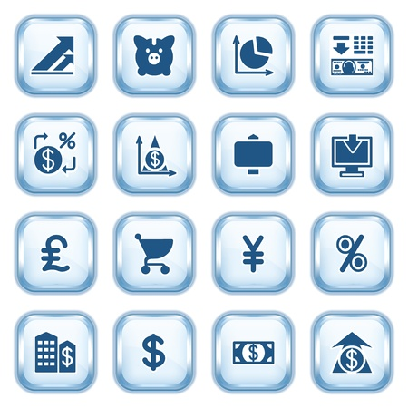 Finance web icons on glossy buttons  Stock Vector - 15173464