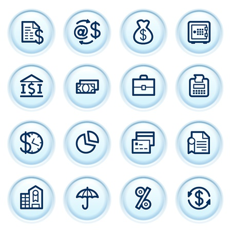 e cash: Finance icons on blue buttons