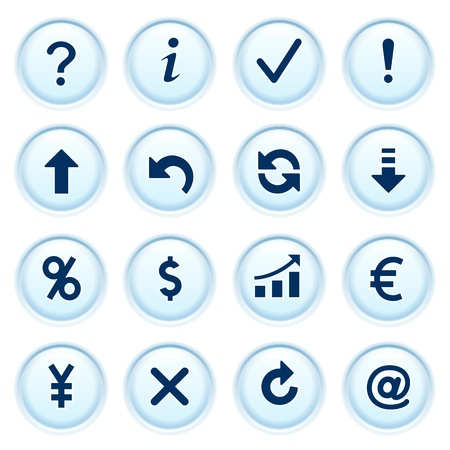 refresh rate: Symbols for web on blue buttons  Illustration
