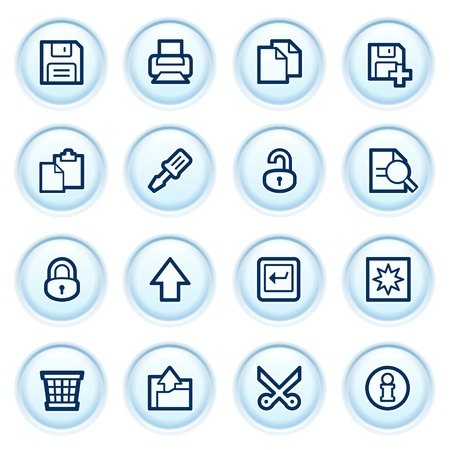 save as:  Document web icons on blue buttons  Set  Illustration